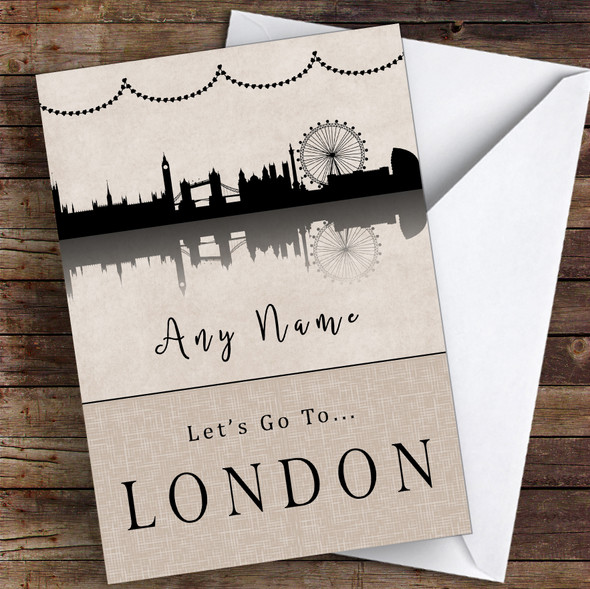 Surprise Let's Go To London Personalised Greetings Card