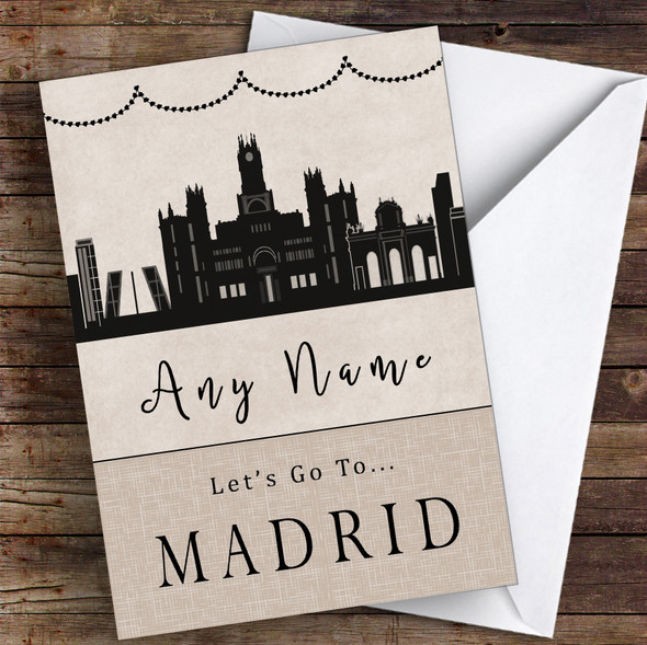 Surprise Let's Go To Madrid Personalised Greetings Card
