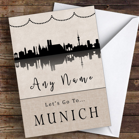 Surprise Let's Go To Munich Personalised Greetings Card