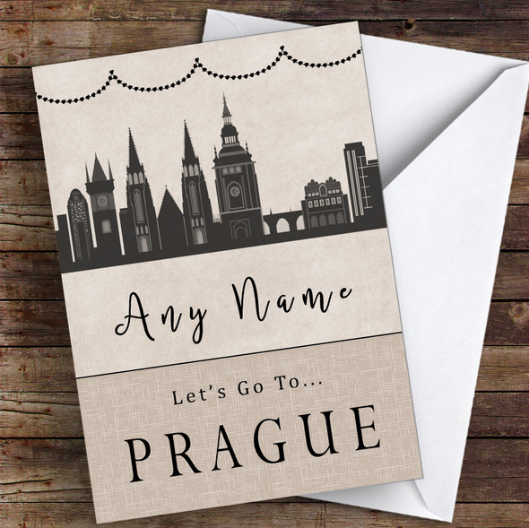 Surprise Let's Go To Prague Personalised Greetings Card