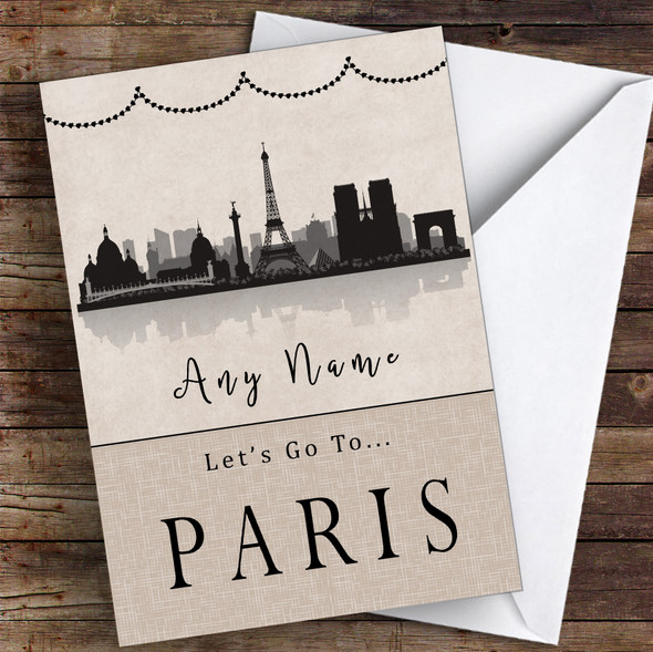 Surprise Let's Go To Paris Personalised Greetings Card