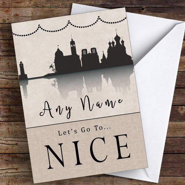 Surprise Let's Go To Nice Personalised Greetings Card