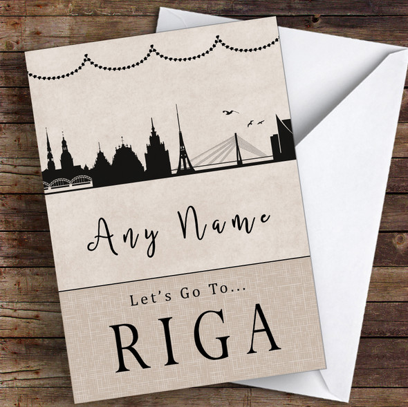 Surprise Let's Go To Riga Personalised Greetings Card