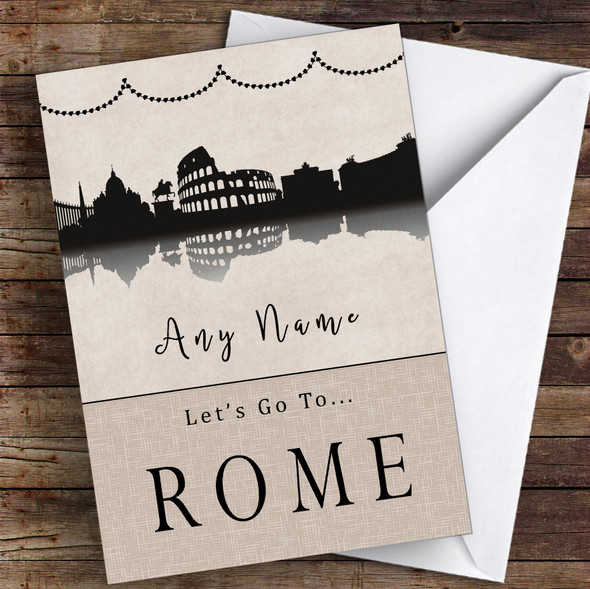 Surprise Let's Go To Rome Personalised Greetings Card