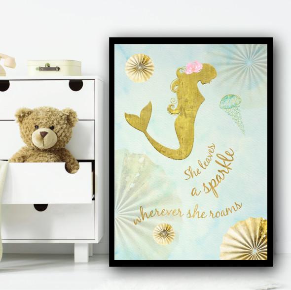 Mermaid Gold Japanese Style Children's Nursery Bedroom Wall Art Print