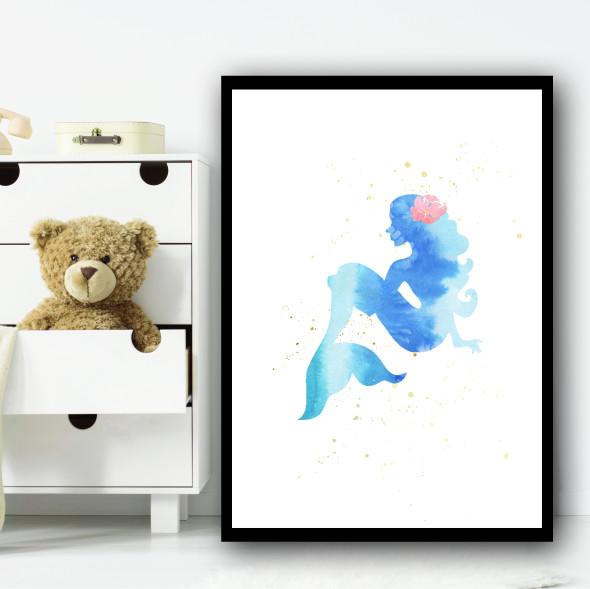 Ocean Blue Mermaid 2 Children's Nursery Bedroom Wall Art Print