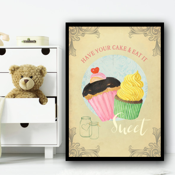 Baking Vintage Children's Nursery Bedroom Wall Art Print