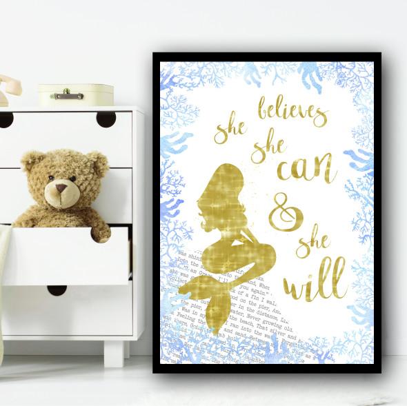 Sparkle Mermaid Blue Children's Nursery Bedroom Wall Art Print