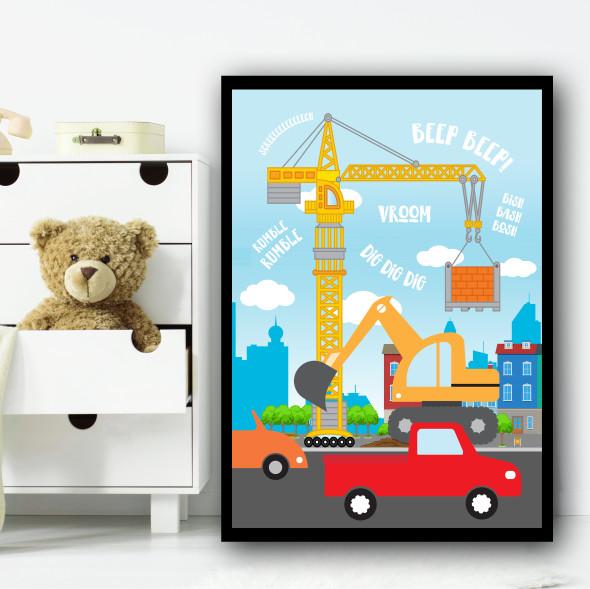 Transport Set 3 Children's Nursery Bedroom Wall Art Print