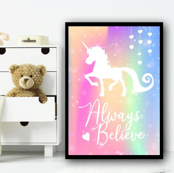 Wall Art Unicorn Sparkle Background 3 Children's Nursery Bedroom Wall Art Print