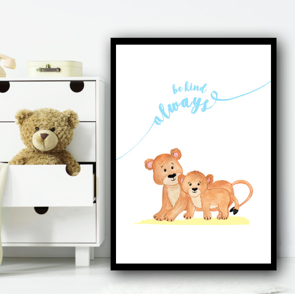 Zoo Tigers Children's Nursery Bedroom Wall Art Print
