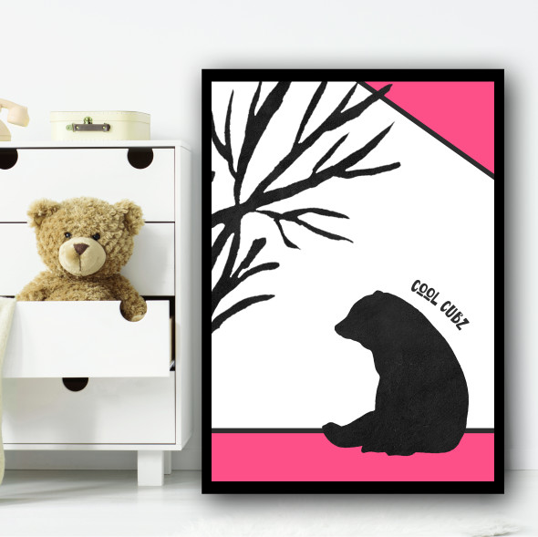 Bear Pink Cool Cub Children's Nursery Bedroom Wall Art Print