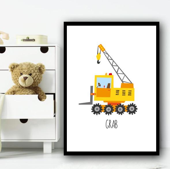 Construction Grabber Grab Children's Nursery Bedroom Wall Art Print