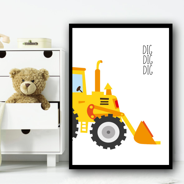 Construction Set 1C Children's Nursery Bedroom Wall Art Print