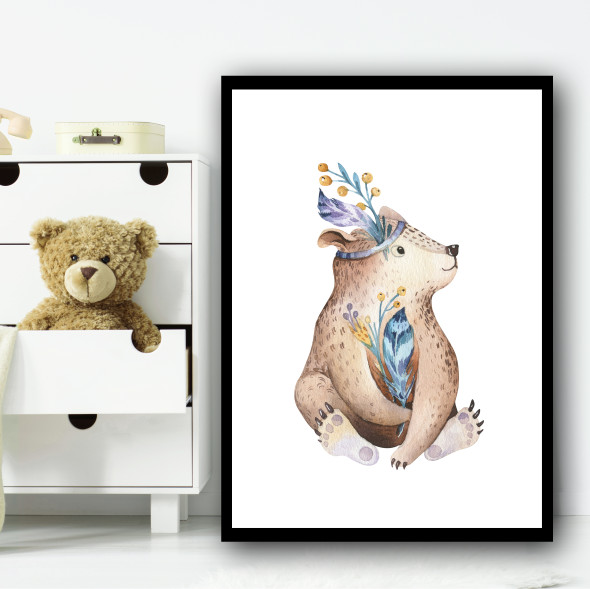 Cute Kids Bear Children's Nursery Bedroom Wall Art Print