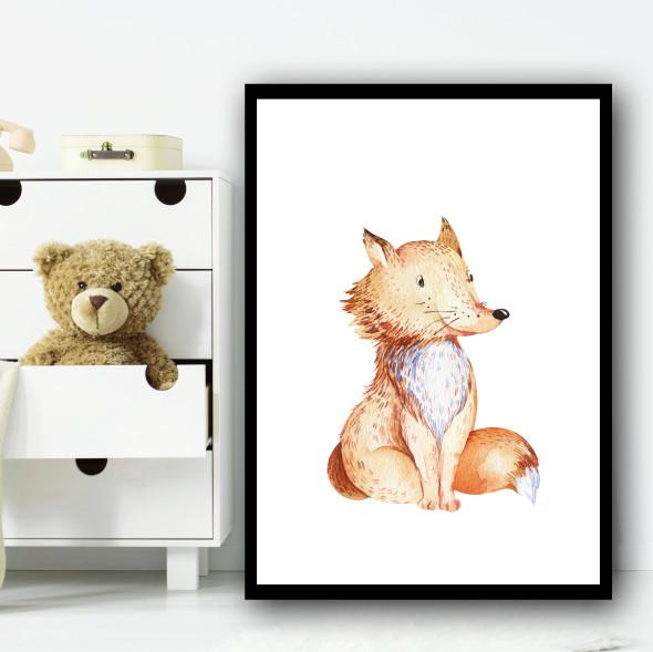 Cute Kids Fox Children's Nursery Bedroom Wall Art Print