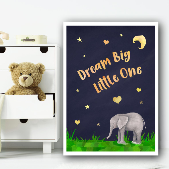 Elephant Watercolour At Night 3 Children's Nursery Bedroom Wall Art Print