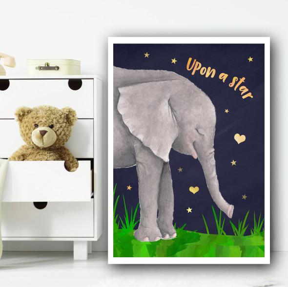 Elephant Watercolour At Night Children's Nursery Bedroom Wall Art Print