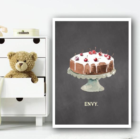 Envy Chalk Cake Children's Nursery Bedroom Wall Art Print