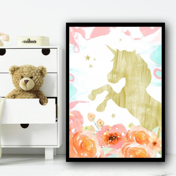 Floral Gold Unicorn Children's Nursery Bedroom Wall Art Print