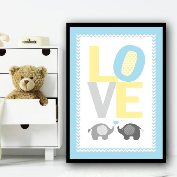 Baby Elephant Love Yellow Blue Children's Nursery Bedroom Wall Art Print