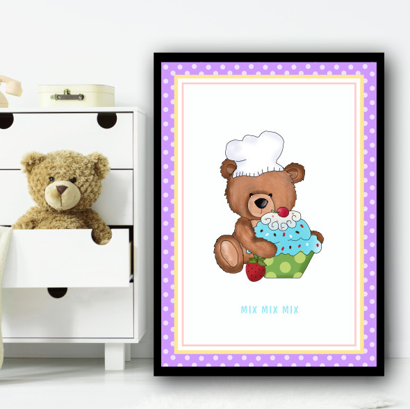 Baking Cakes Teddy 2 Children's Nursery Bedroom Wall Art Print