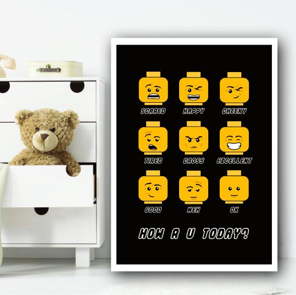 Lego Heads Children's Nursery Bedroom Wall Art Print