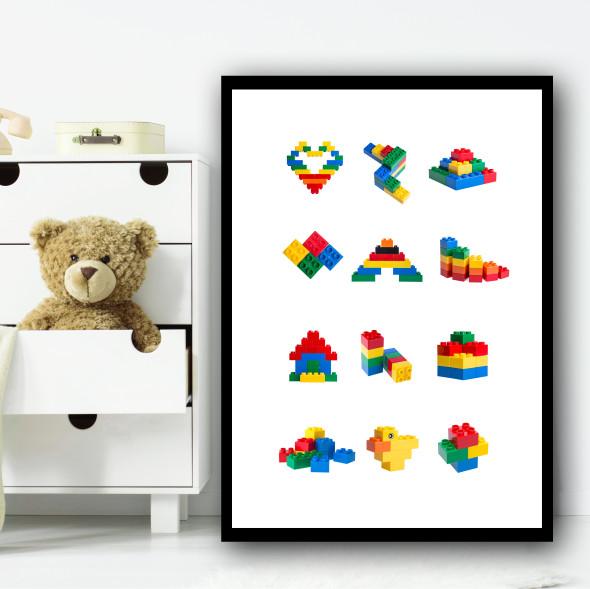 Lego Toys Children's Nursery Bedroom Wall Art Print