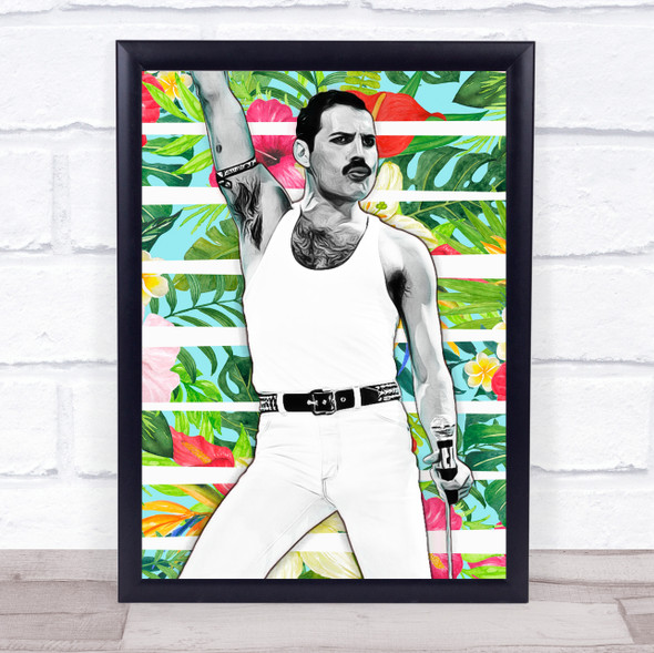 Freddie Mercury Flowers Funky Framed Wall Art Print