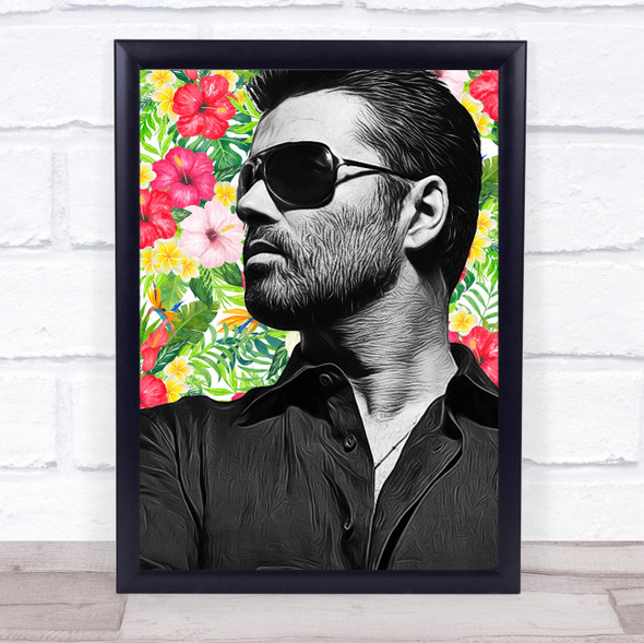 George Michael Floral Funky Framed Wall Art Print