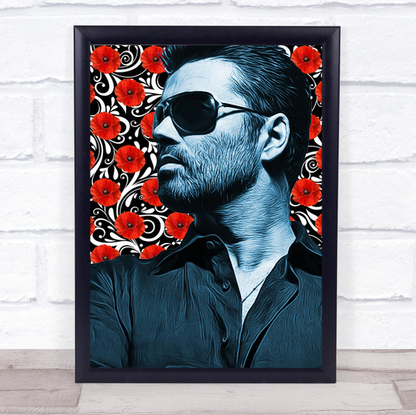 George Michael Red Flower Funky Framed Wall Art Print