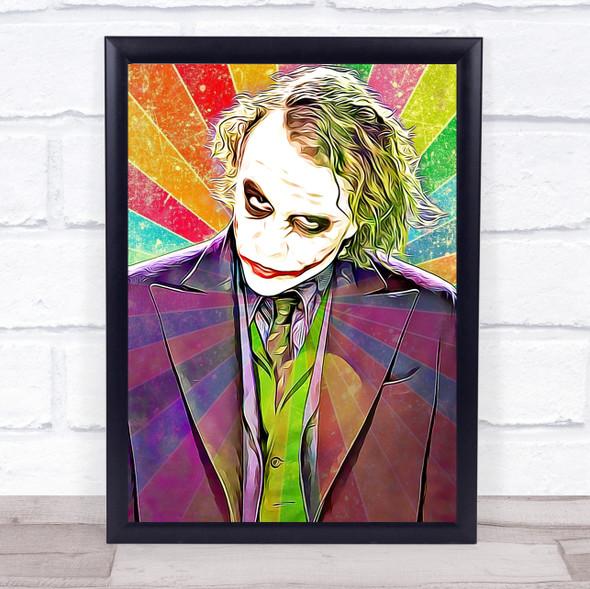 Heath Ledger Joker Batman Colour Funky Framed Wall Art Print