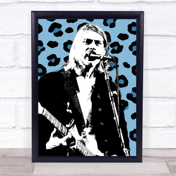 Kurt Cobain Leopard Print Funky Framed Wall Art Print