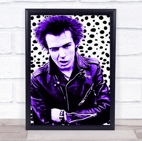 Sid Vicious Purple Spotty Funky Framed Wall Art Print
