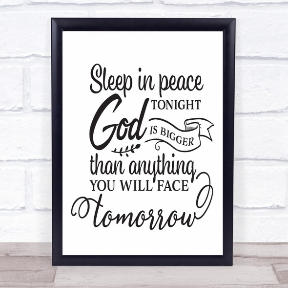 Sleep In Peace God Is Big Quote Typography Wall Art Print