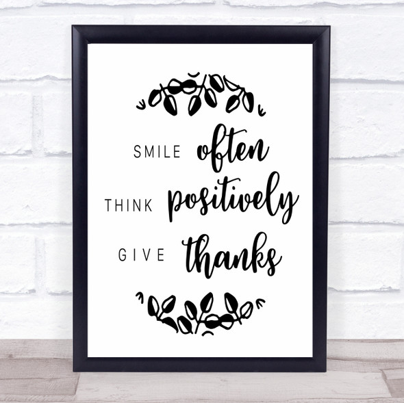Smile Often Give Thanks Quote Typography Wall Art Print