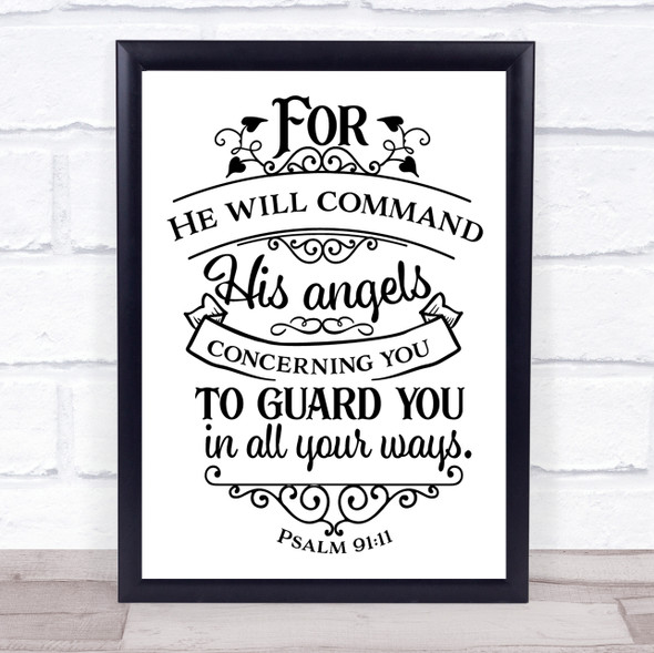 Christian He Will Command His Angels Quote Typography Wall Art Print