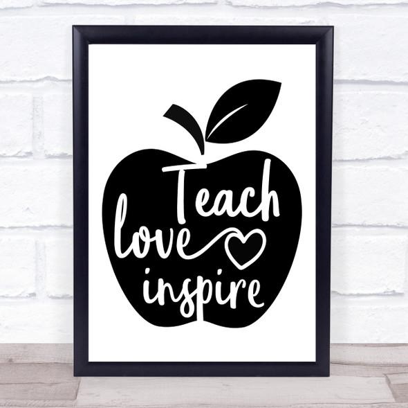 Apple Teacher Love Inspire Quote Typography Wall Art Print