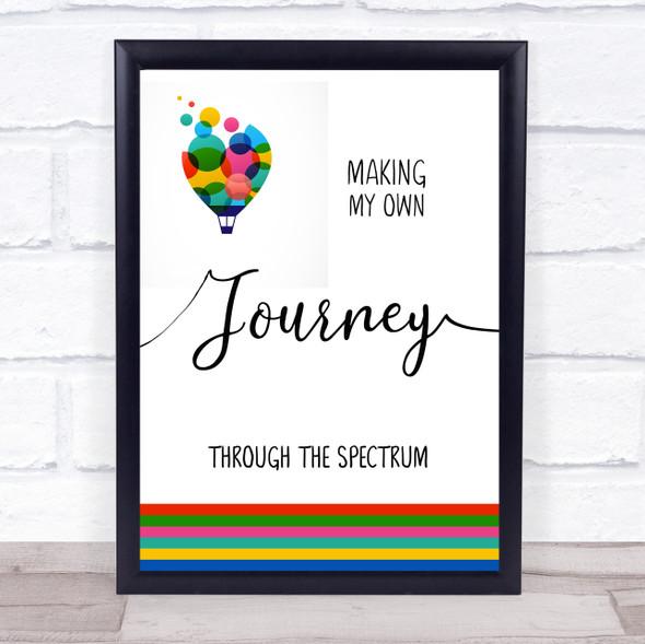 Autism Journey Through The Spectrum Balloon Quote Typography Wall Art Print
