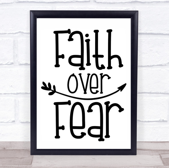 Faith Over Fear Quote Typography Wall Art Print