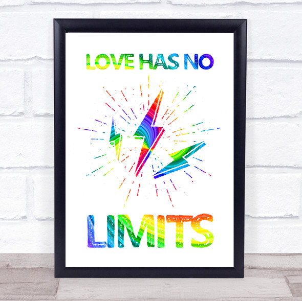 Gay Pride Love Has No Limits Quote Typography Wall Art Print