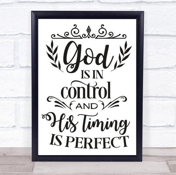 God Is In Control Quote Typography Wall Art Print