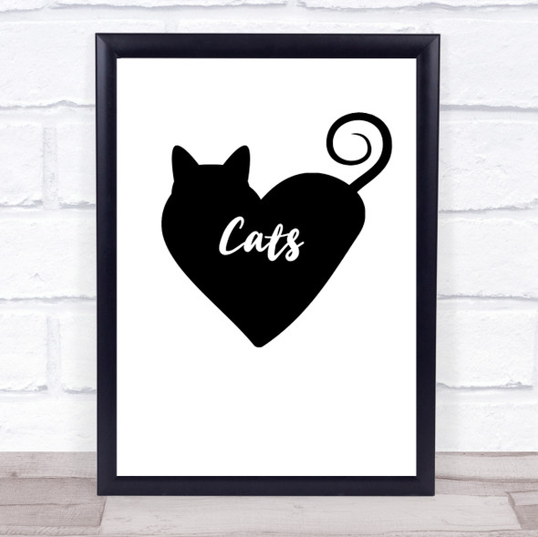 Heart Love Cats Quote Typography Wall Art Print