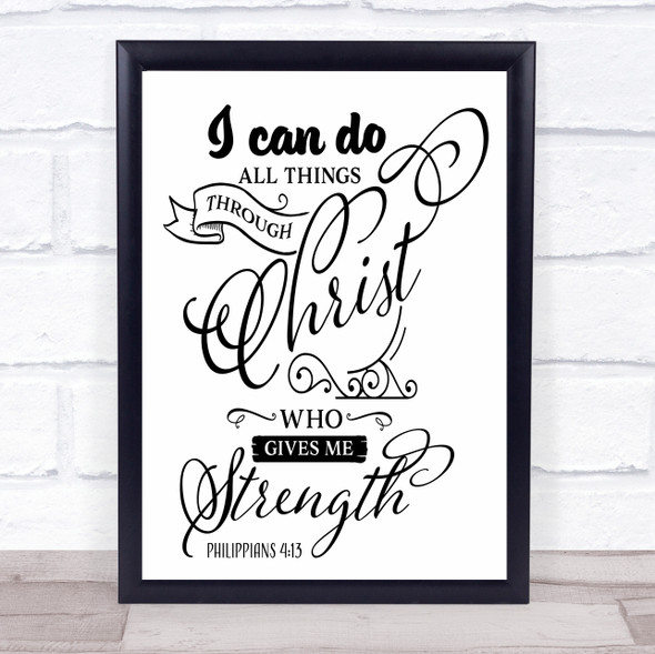 I Can Do All Things Through Christ Quote Typography Wall Art Print