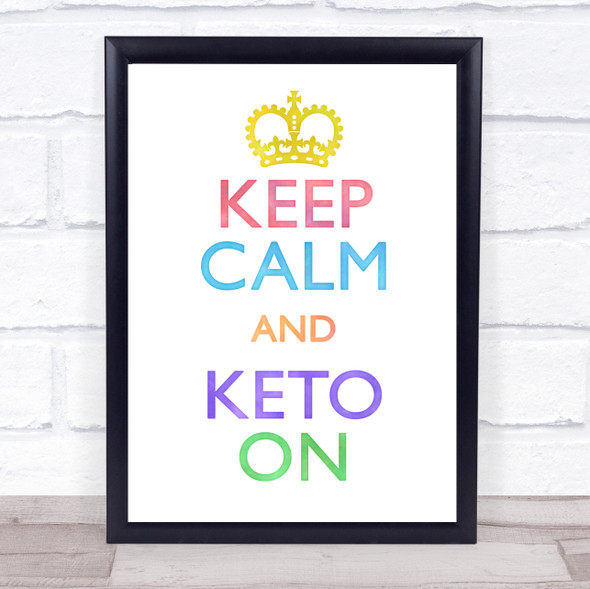 Keep Calm And Keto On Watercolour Quote Typography Wall Art Print