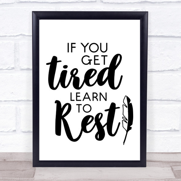 Learn To Rest Quote Typography Wall Art Print