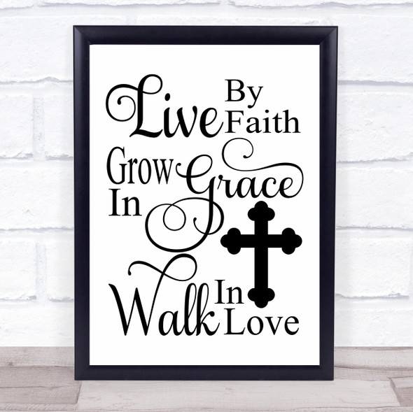 Live By Faith Christian Quote Typography Wall Art Print