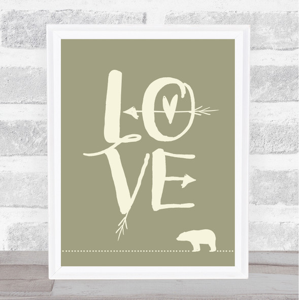 Love Bear Quote Typography Wall Art Print