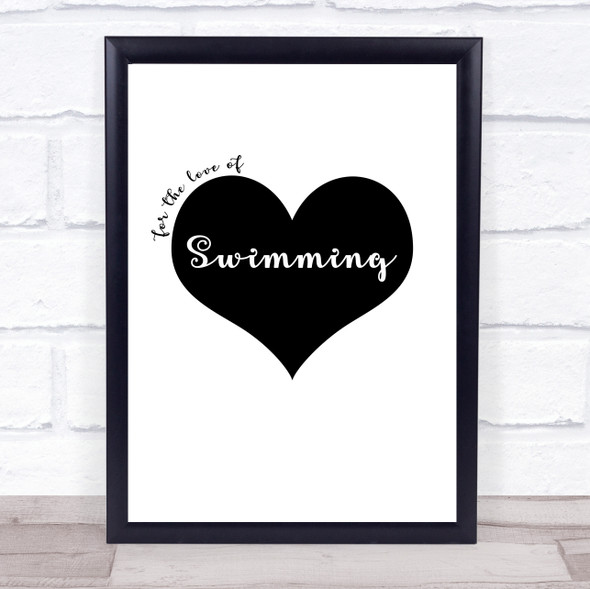 Love Swimming Quote Typography Wall Art Print