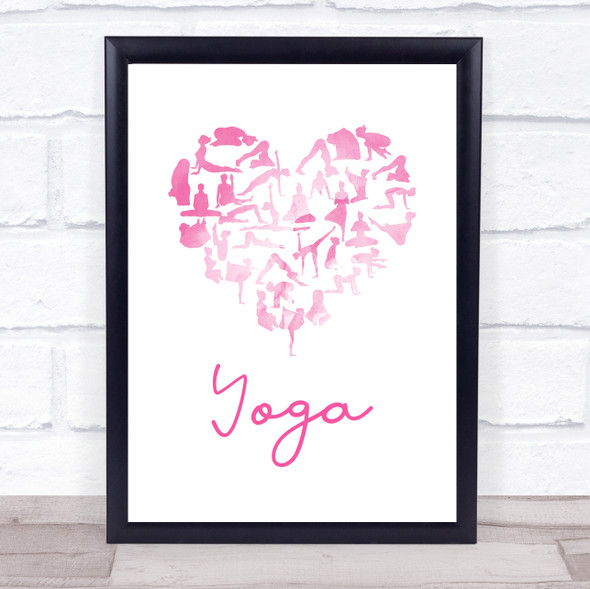 Love Yoga Heart Silhouette Pink Quote Typography Wall Art Print